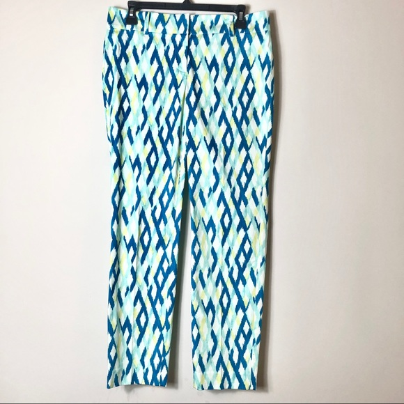 Ann Taylor Blue Printed Pants